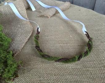 Bridal crown/ moss crown/ crown for bride/ crown/ rustic wedding/ rustic crown/ woodland wedding/ woodland crown/hair accessory/wedding hair