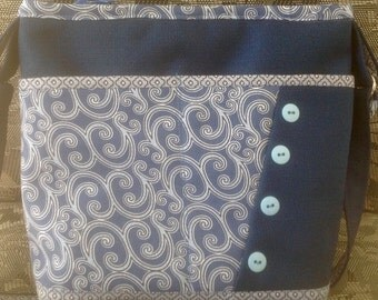 Navy Purse, Blue Print Purse, Large Handbag,  Multiple Pockets, Shoulder Strap, Top Zipper Closure,Homemade Fabric Purse, Made in USA