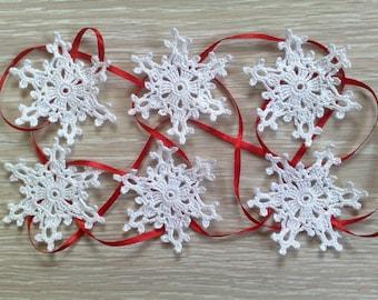 snowflakes crochet Set of 6 Christmas tree decor Crochet christmas decoration