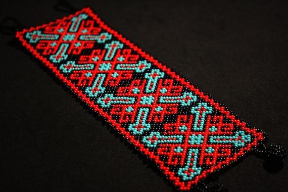 Native American Beaded Bracelet, Huichol Bracelet, Beaded Aztec Bracelet, Red Turquoise Black, Seed Bead Bracelet, Authentic Beadwork