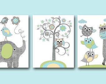 Blue Grey Baby Boy Wall Decor Digital Nursery Elephant Giraffe Nursery Digital Print Printable Art Instant Download Art set of 3 8x10 11X14