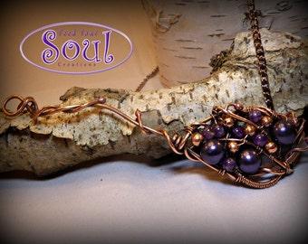 Purple grapevine pendant