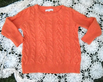 Tangerine Orange Irish Cable Knit Sweater by Ann Taylor Loft, Size Small Made of Rayon, Wool, Cotton and Rabbit blend