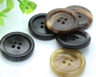 6 pcs 4 Hole Matte pattern Resin Buttons for Suits/Coat/Dust coat,0.59~0.98 inch(15mm-25mm),P15