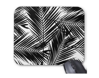 Palm Leaves Print Mouse Pad, Black & White Modern Tropical Mousepad