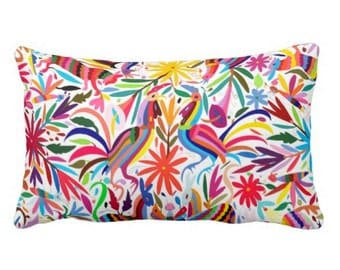 """Colorful Otomi Throw Pillow Cover, Bright Boho/Ethnic Mexican Animal & Nature Print 13 x 21"""" Pillows or Covers"""