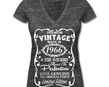 50th Birthday Gift Ideas for Women Unique T-shirt - Made in 1966 Shirt - Memorable V-Neck Shirt - Birthday Gift for Her