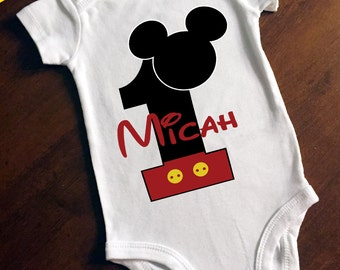 Mickey Mouse First Birthday Personalized Onesie/Bodysuit