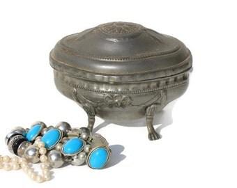 Vintage French domed trinket box,Jewellery box ,trinket casket,boudoir