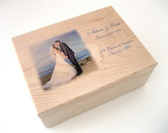 Wooden Box - Valet Box - Memory Box - Wedding Keepsake Box - Maple