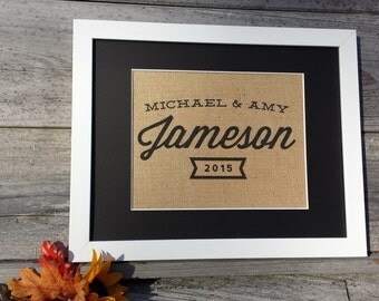 Family Name Sign - Burlap Sign - Burlap Family Name Sign - Personalized Wall Decor - Housewarming Gift