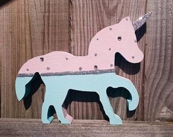 Hand decorated wooden Unicorn decoration/gift
