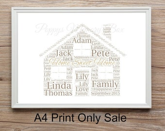 Personalised Any Colour New Home, New House, House Warming Word Art Print Gift Free P&P A4 21x30cm