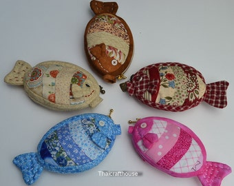 """Fish quilted purse,cotton,3.5 x 5"""""""