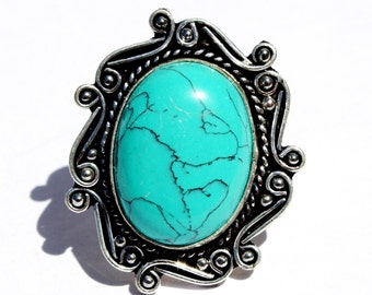 Turquoise Ring / Handmade Silver Ring / Semi Precious Gemstone Ring / Cabochon Ring / Size US 8.75 RE58