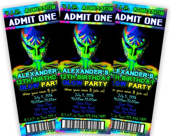 glow in the dark invitation boy  glow party invitation  neon, Party invitations