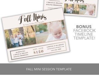 INSTANT DOWNLOAD 5x7 Fall Mini Session Template Customizable Photoshop + BONUS Facebook Timeline Cover Photo