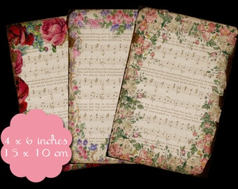 6 Floral Framed Music Tags