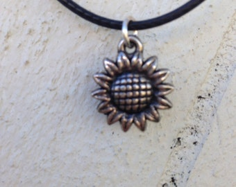 Silver Sunflower Leather Cord Choker Necklace