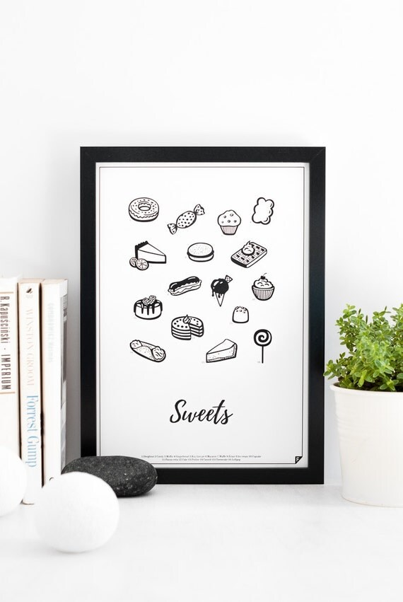 Sweets print kitchen print cakes 8x10 11x14 12x16 16x20 for Kitchen design 8x10