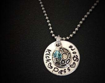 Hand Stamped Soccer Necklace, Soccer Necklace, Soccer Personalized Necklace, Soccer Jewelry