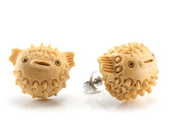 "Hand Carved - ""Blowfish"" - Gentawas Wood with Ebony Wood Inlay Stud Earring - Marina Bay"
