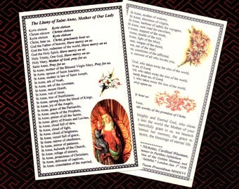 LITANY of SAINT ANNE Mother of the Blessed Virgin Mary, newly printed laminated card from the Golden Manual. Uk/Ireland postage is included