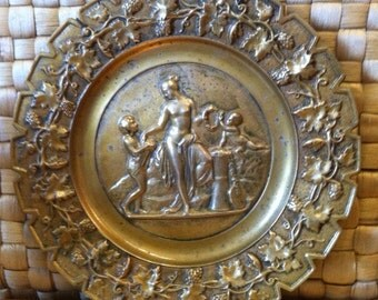 Antique French Bronze Plate with the Harvest Goddess Demeter