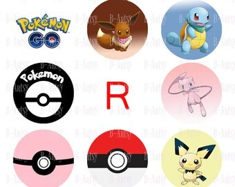 1 inch circles of Pokemon Bottle Cap Images, Instant Download, Digital File,,