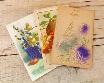 Vintage Postcard Lot, Vintage Postcards, Antique Postcards, Flower Postcard, Easter Postcard, Congratulate Postcard, Crafting Postcards