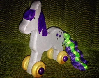 Handmade Wooden Rolling Toy--Lilac Lady