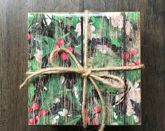 Rustic Holly Coasters, Set of 4