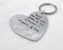 Personalised Paw Prints on my Heart Keepsake Key Ring, Pet Memorial Keyring, Custom Pet Name,  Pet Loss Gifts, Dog Memorial, Cat Memorial