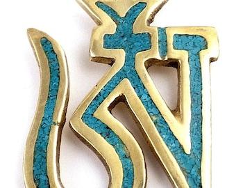 JEWEL Buddhist OM Tibetan meditation zen brass turquoise ref 3600