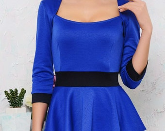 Dress Basques Autumn dress Royal Blue  Black dress office Dress business woman Contrast dress Classic dress