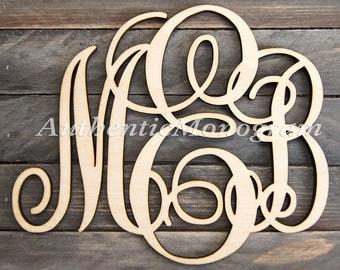 wooden monogram wall letters unpainted home decor monogram wedding