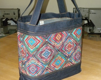 SALE - Diamonds Denim Market Tote