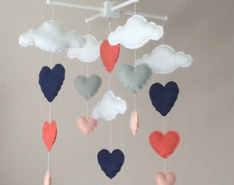 Baby mobile - Cot mobile - clouds and hearts - Cloud Mobile - Nursery Decor - Navy, corals and grey