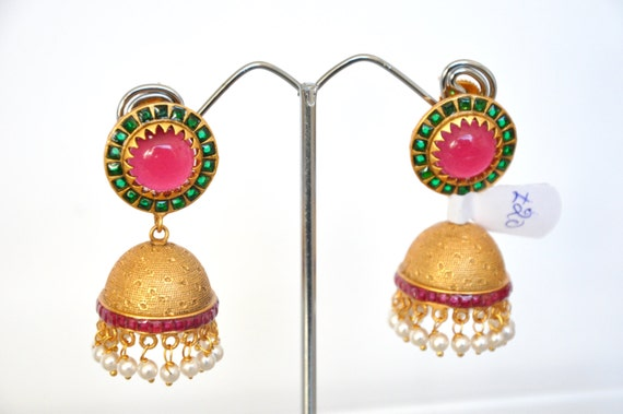 Antique Jhumkis | Indian Jewelry | Indian Earrings | temple jewelry with synthetic kemp stones snd faux pearls
