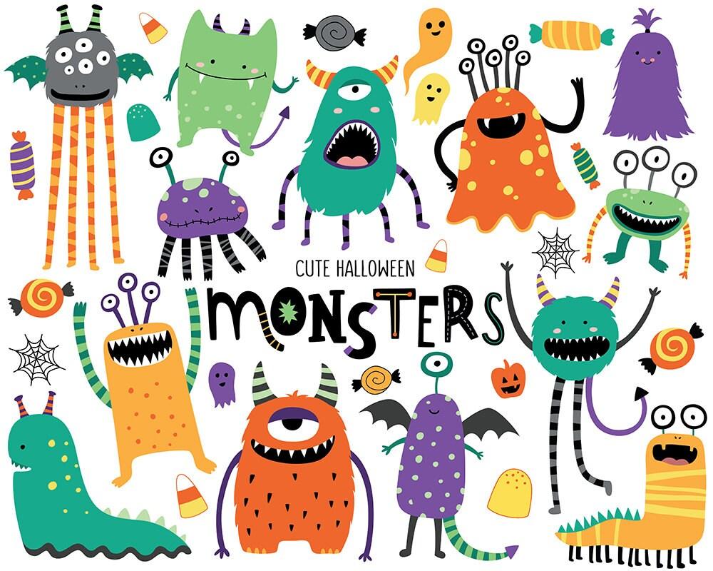 Halloween Monsters Clipart Cute Halloween Clip Art Monster