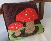 Mushroom Pillow, decorative handknit pillow with a modern homespun feel, soft and cozy.