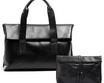 DUO OFFER: Oversized shoulder bag + rolled top clutch, shoulder bag, clutch bag, leather bag, genuine leather
