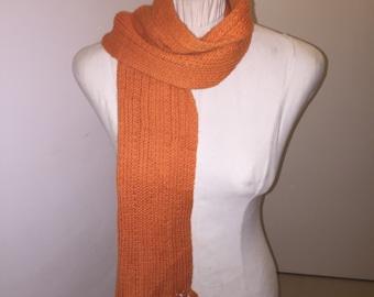 Vintage retro 1960s orange wool scarf
