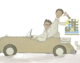 Figure bride and groom in car