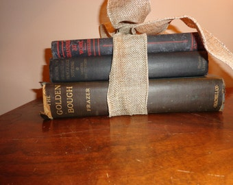 Vintage Stack Of Tattered Blue Books From the 1920s, Tied With a Burlap Ribbon, Home Decor, Props, Weddings Display, Ephemera
