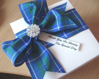 Scottish Wedding Favours - Tartan Ribbon & Diamante - Empty or Filled -10cm Box