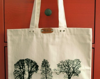 Trees - hand printed cotton tote bag