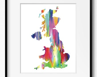 Great Britain and Northern Ireland Watercolor Map Art Print (201) United Kingdom