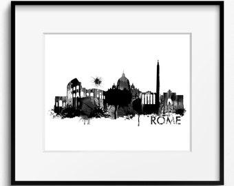 Rome Skyline Watercolor Black and White Art Print (723) Cityscape Italy Italia