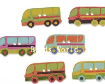 12 Wooden School Bus Buttons - #SB-00172